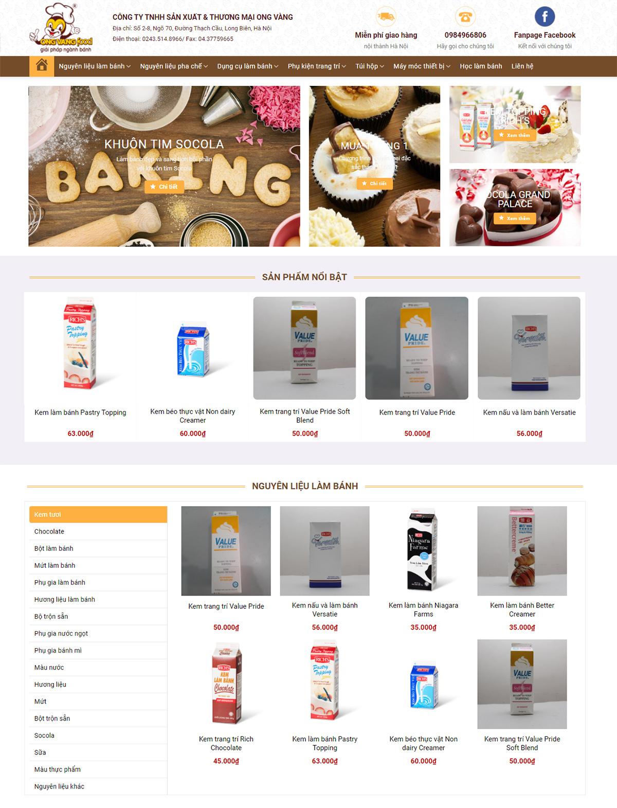 Thiết kế website công ty làm bánh ngọt