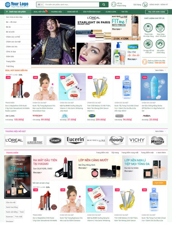 Mẫu website phù hợp cho các công ty bán hàng mỹ phẩm, văn phòng phẩm, phụ kiện,...
